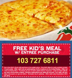 Chili's: Kids Eat FREE with Coupon ~ 10/15 – 10/17