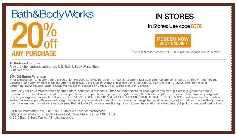Bath & Body Works Coupon: 20% Off Any Purchase Online or In Stores ~ Expires 10/19/12