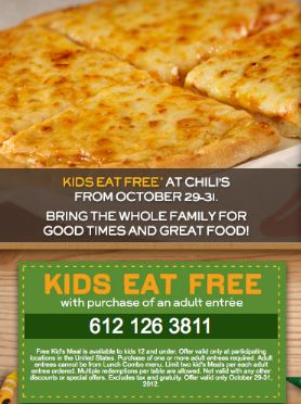 Chili's: Kids Eat FREE with Coupon ~ Expires 10/31/12