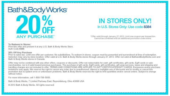 Bath & Body Works Printable Coupon ~ 20% Off Any Purchase!