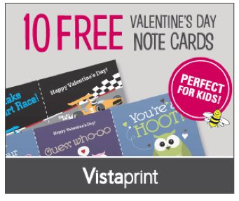 Vistaprint ~ 10 Free Valentine's Day Note Cards