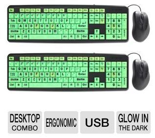 2 Glow-in-Dark Large Print Letter Keyboards, USB Connection & 2 Mice ONLY $9.99! ~ 2/26/13 Only