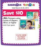 Good Deal Alert: Cheap Pamper Diapers at Toys R Us! Only $10 for 96ct box!