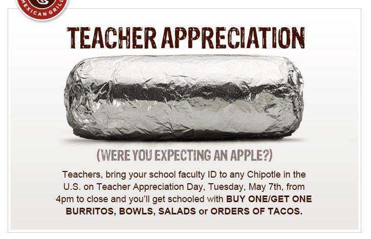 Chipotle Teacher Appreciation Week: UPDATED!! Happy Teacher Appreciation Week FREEbies   May 6 10  2013,