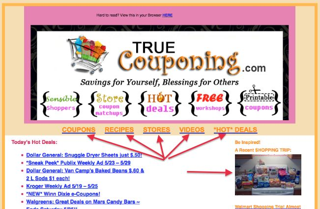 True Couponing Has Updated our E-Newsletter (New Look for our Email!)