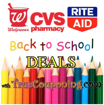 Back To School Supplies List for Drug Stores (Walgreens, CVS, Rite Aid) ~ 8/30 – 9/5