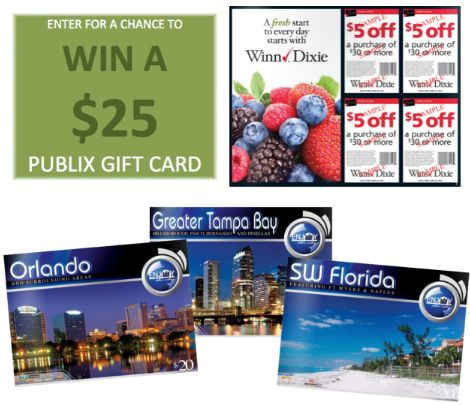 2 GIVEAWAYS: We are giving away 2- $25 Publix Gift Cards AND 10 Enjoy the City Coupon Books! (Ends Tuesday, 7/30 & Thursday, 8/1)