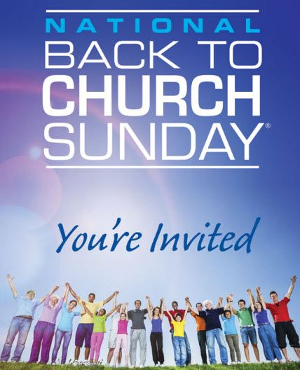 National Back To Church Day, This Sunday 9/15!