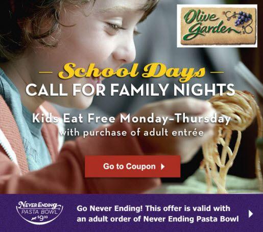 Kids Eat FREE @ Olive Garden Mon.-Thurs. Through 9/29!