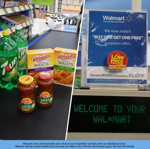 Walmart does not accept BOGO manufacturer coupons with a percentage (i.e. buy the first item at full price get 50% off the 2nd item). Returns Coupons will not be given back upon return of the merchandise.