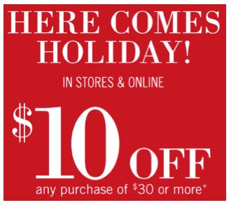 Bath and Body Works Printable Coupon – Save $10 Off $30 or More Purchase ~ Ends 11/24/13