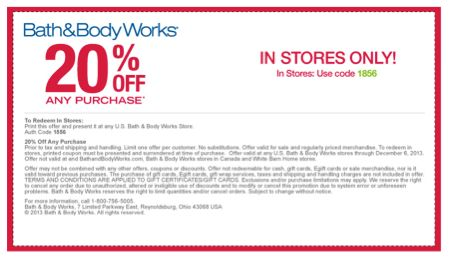 Bath & Body Works Coupon: 20% Off Any Purchase Online or In Stores ~ Expires 12/6/13