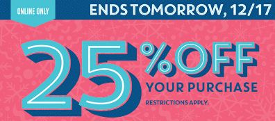 Old Navy's Last Chance Sale! Save 25% Off Everything  Ends 12/17