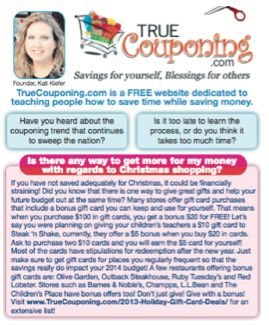 Monthly TrueCouponing Article in Today's Tampa Bay Times ~ All About Getting More Gift For Your Money This Christmas!