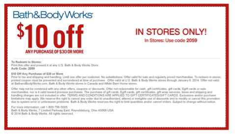 Bath & Body Works Coupon:  Save $10 Off Any Purchase of $30 or More In Stores ~ Expires 1/6/14