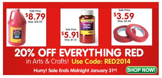 20% Off RED Art and Craft Supplies with Discount Code ~ Ends 1/31
