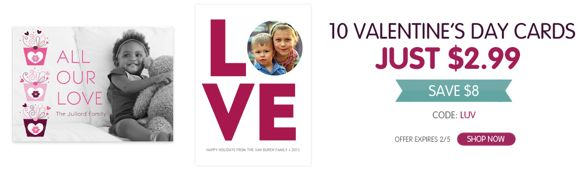 10 Personalized Valentine's Day Cards $6.98 Including Shipping!