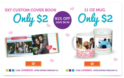 York Photo Valentine's Day Offers Photo Book or Mug Only $2!