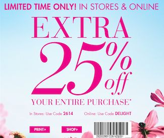 Bath and Body Works Printable Coupon – Save 25% Off Entire Purchase!