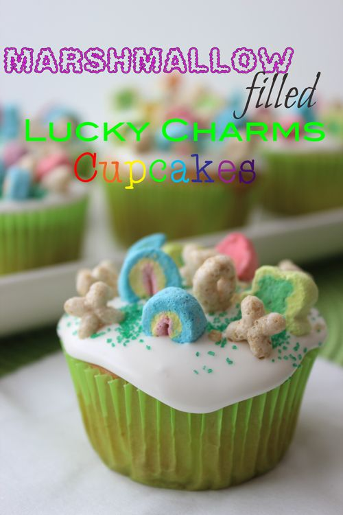 Marshmallow Filled Lucky Charms Cupcakes Recipe