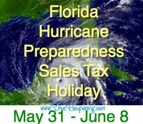 Florida Stock Up Now on Hurricane Supplies! NO Sales Tax through Sun. 6/8!