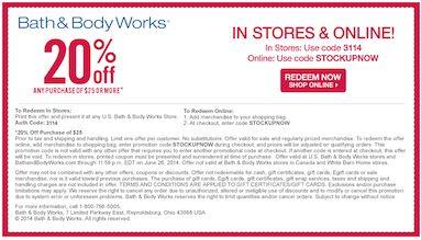 Bath and Body Works printable coupon 6-24