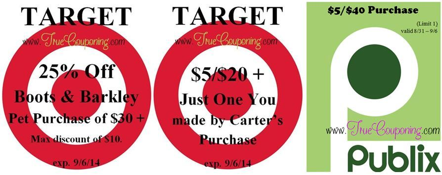 Special Coupons in 8/31 Sunday Newspaper: Target $5/$20 + Carter's Purchase & 25% Off Boots & Barkley Pet Purchase!