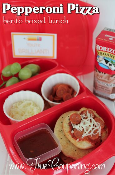 Pepperoni Pizza Bento Box Lunch! Plus FREE DOWNLOADABLE Lunchbox Notes!