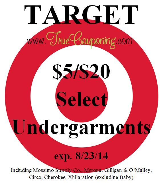 Special Coupons in 8/17 Sunday Newspaper: Target $5/$20 Select Undergarments!