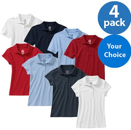 Back to School at Walmart Uniform Shirts 4pk $15.88 ~ Today Only!
