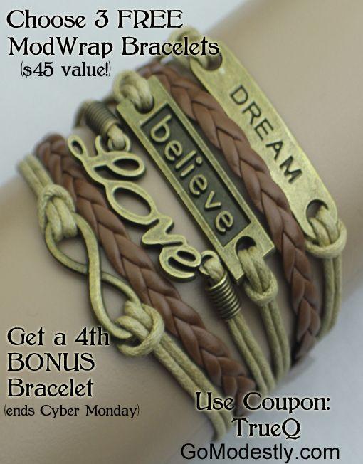Black Friday-Cyber Monday 4 FREE ModWrap Bracelets – Only Pay Shipping!