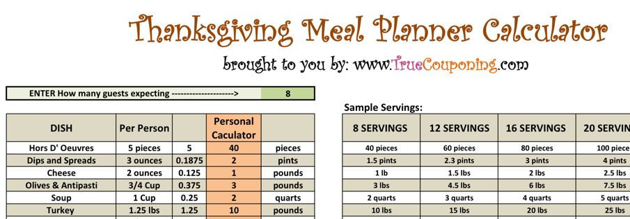 Thanksgiving Meal Planner Image