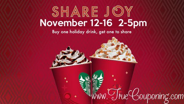 Starbucks BOGO Holiday Drink Special ~ 11/12-16!