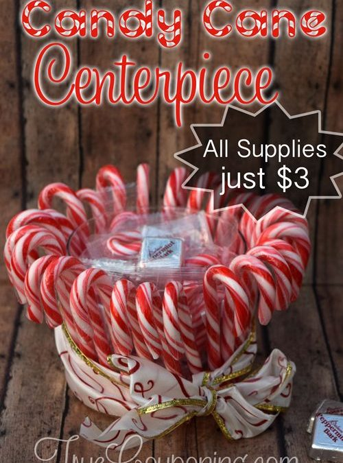 DIY Candy Cane Centerpiece ~ Dollar Store Christmas Craft