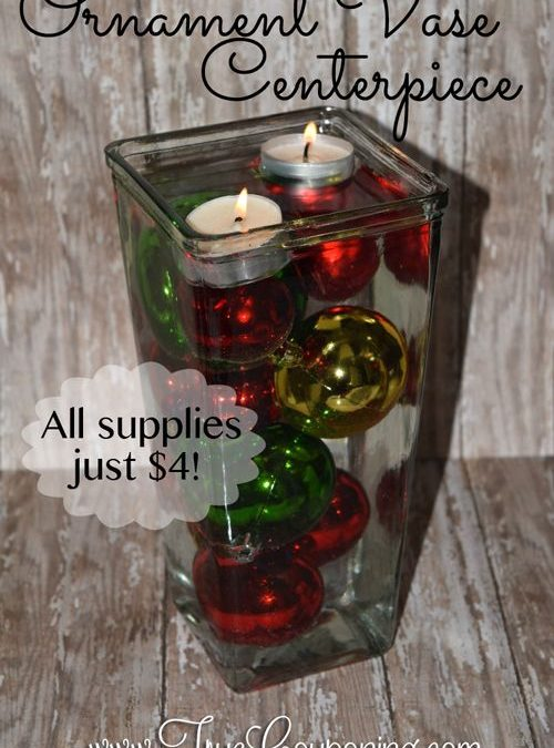 How To Make A Christmas Ornament & Candle Centerpiece Vase