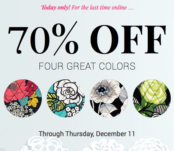 Vera Bradley Sale ~ Save 70% on Select Colors!  TODAY ONLY!