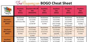 BOGO Coupon Cheat Sheet