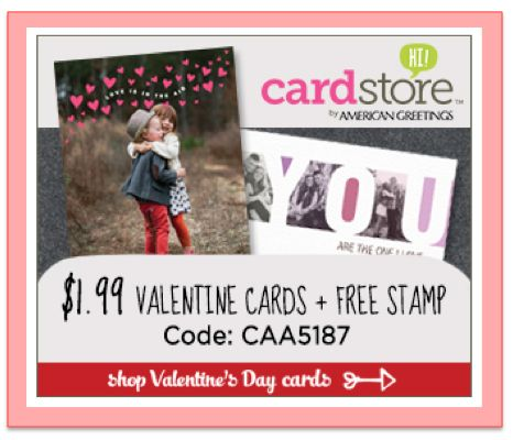 Cardstore ~ Valentine's Day Cards $1.99 + FREE Stamp!  Ends 2/6