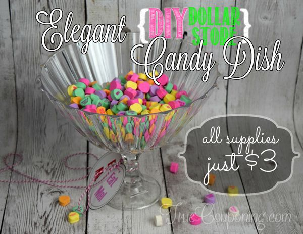 Dollar Store Craft: DIY Candy Dish {with Downloadable Labels!}