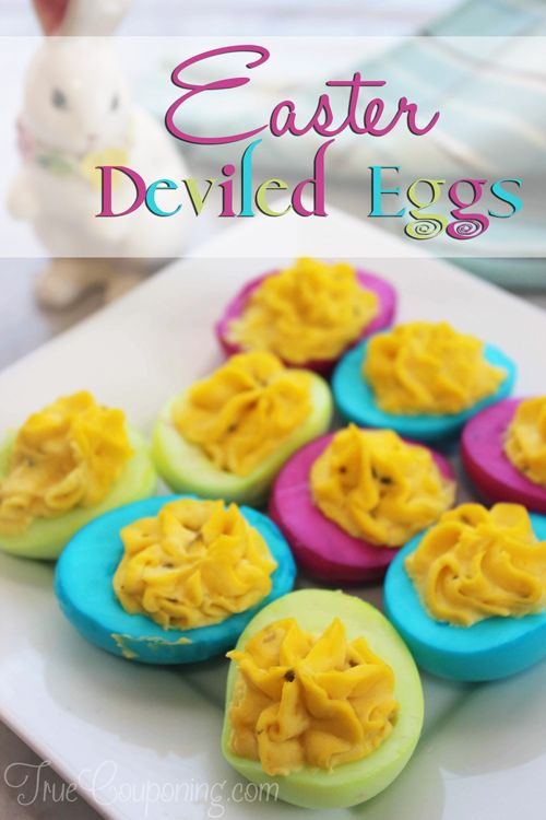 Make sure they are covered with water. Add more water/food color if necessary. Let soak for 5- 10 minutes (flipping if necessary), then remove & drain egg whites on a paper towel. Arrange on tray & fill as usual. Tada! Your Easter game just went up a notch! My #1 secret for BEST deviled eggs, is using a potato ricer to run all of the yolks through.