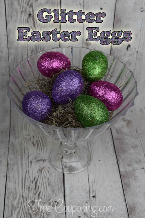 DIY Glitter Easter Eggs Make a Pretty Centerpiece