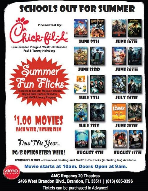 FREE Summer Movies or as low as $1 AMC Regency Theatres - Brandon