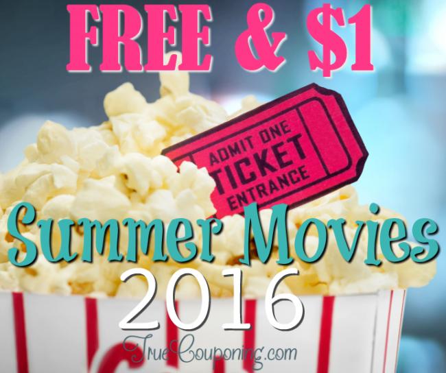 FREE $1 Movies Summer 2016