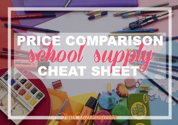2017 Back To School Price Comparison Cheat Sheet {FREE Download}