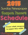 Coupon Insert Schedule