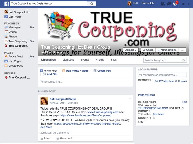 Join Our True Couponing Hot Deals Facebook Group!