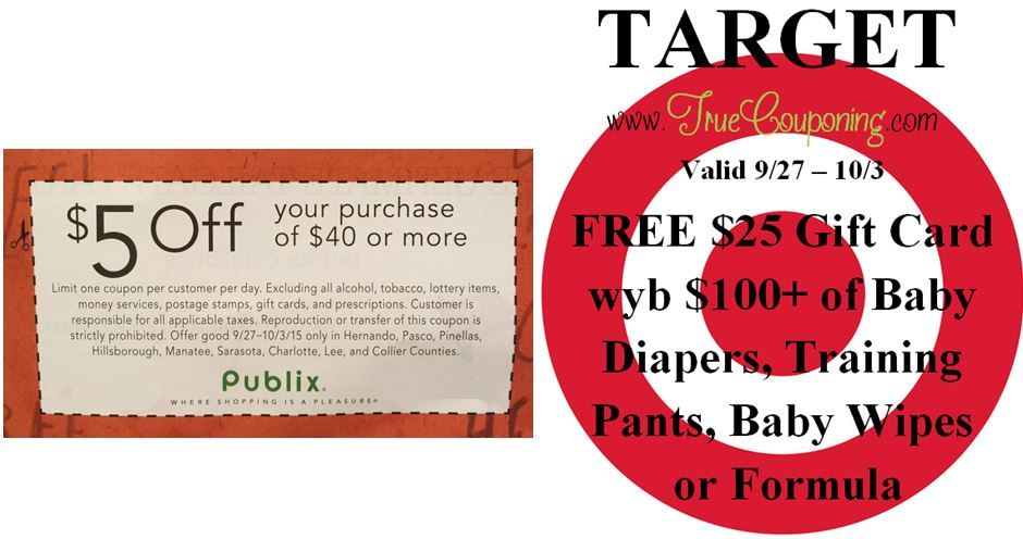 Special Coupons in 9/27 Sunday Newspaper: Target FREE $25 Gift Card wyb $100+ Select Baby Supplies & Publix $5/$40+ Purchase (select FL counties)