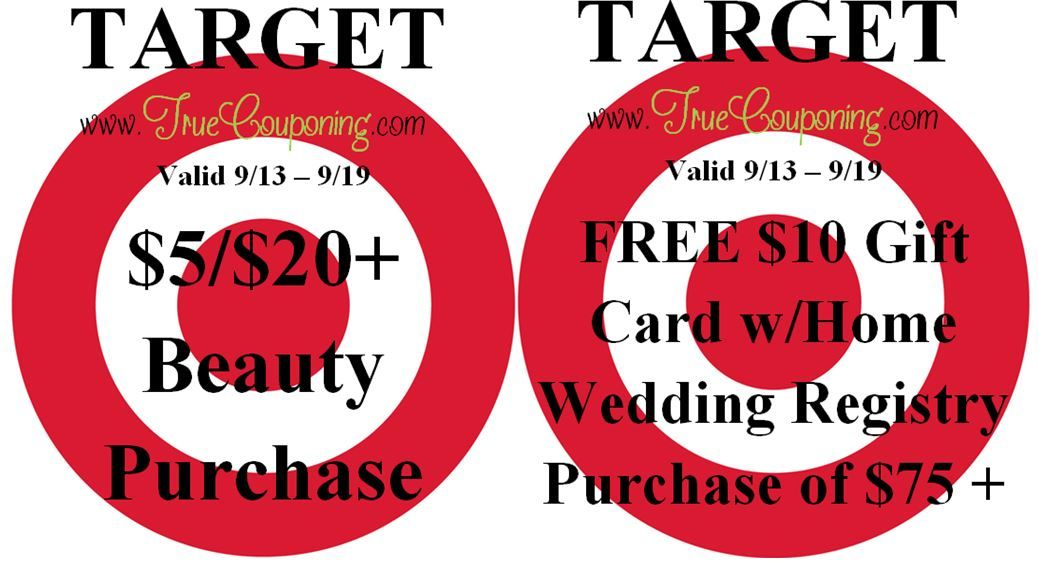 {REMINDER} Saturday is the Last Day to use the Target $5/$20+ Beauty Purchase & FREE $10 Gift Card w/Wedding Registry Purchase!