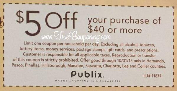 Heads Up: Publix $5/$40 in Sunday's 10/25 Newspaper (Select FL Counties)