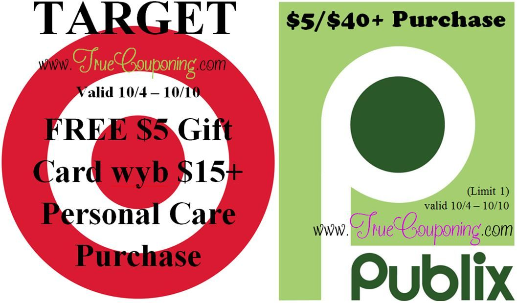 {REMINDER} Saturday is the Last Day to use the Target FREE $5 GC Personal Care & Publix $5/$40+!